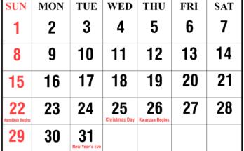 Printable 2019 December Calendar