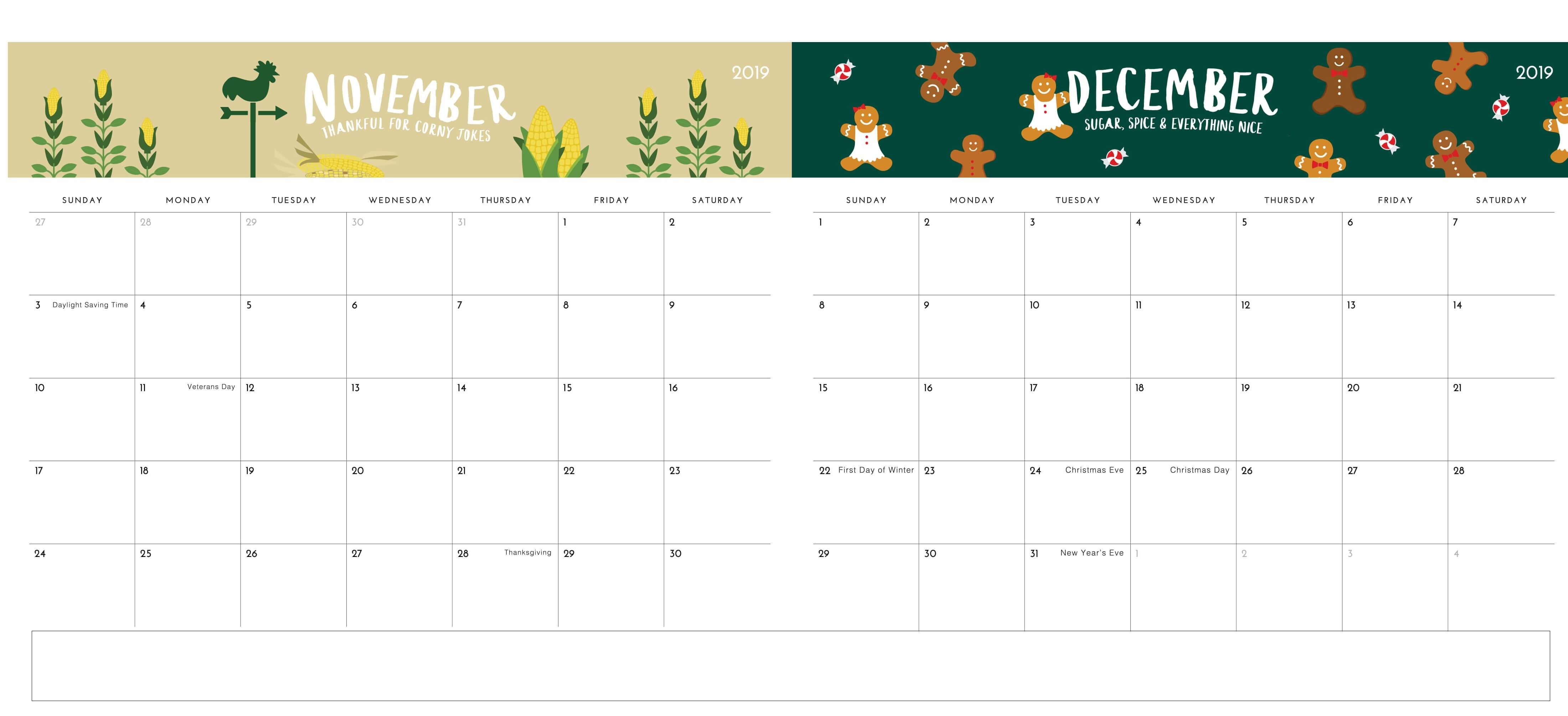 Two Months Cute December 2019 Calendar