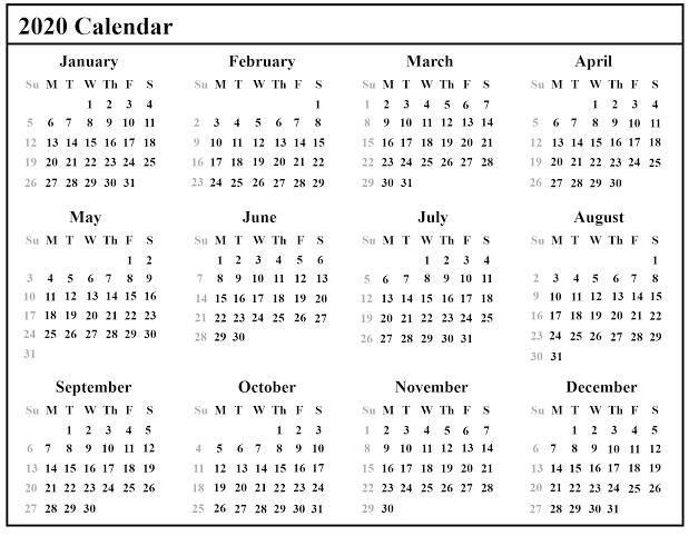 2020 Calendar For Kids
