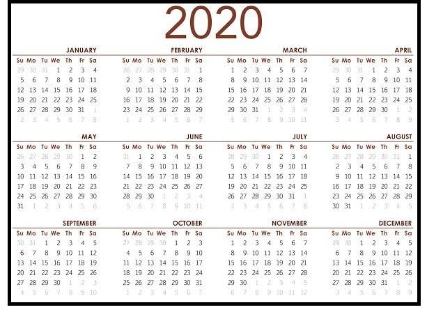 2020 Calendar For School