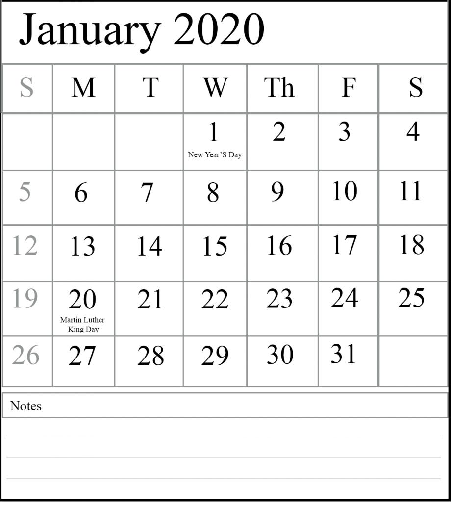 2020 Calendar January Printable