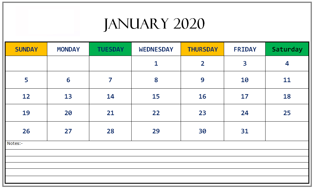 2020 January Calendar PDF