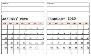 Blank January And February 2020 Calendar