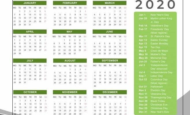 Events Calendar 2020.Calendar 2020 Template For Schedule Free Printable