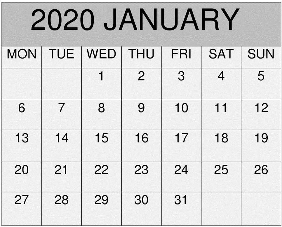 Calendar 2020 January PDF