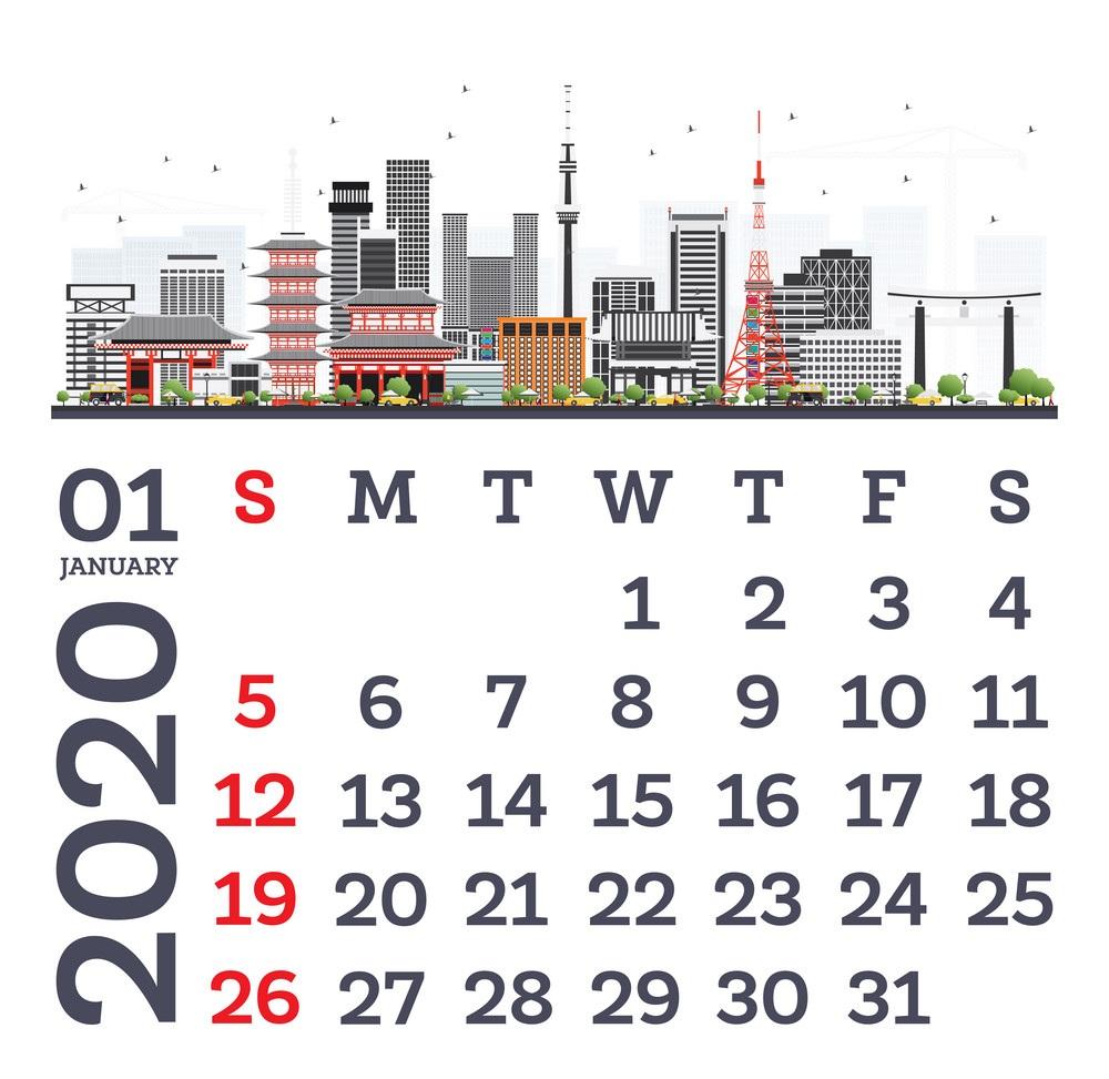Calendar 2020 January Template