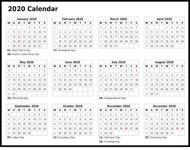 Calendar 2020 Printable Design