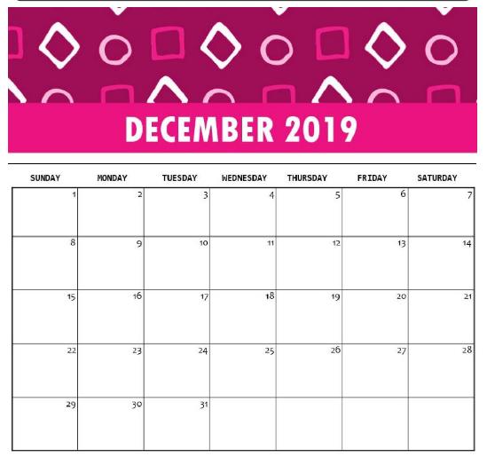 Calendar For December 2019 Excel