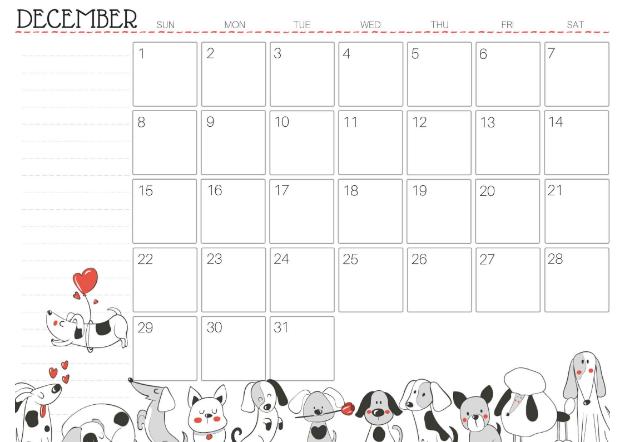 Calendar For December 2019 UK