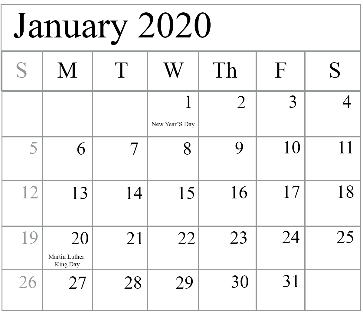 Calendar For January 2020 Layout