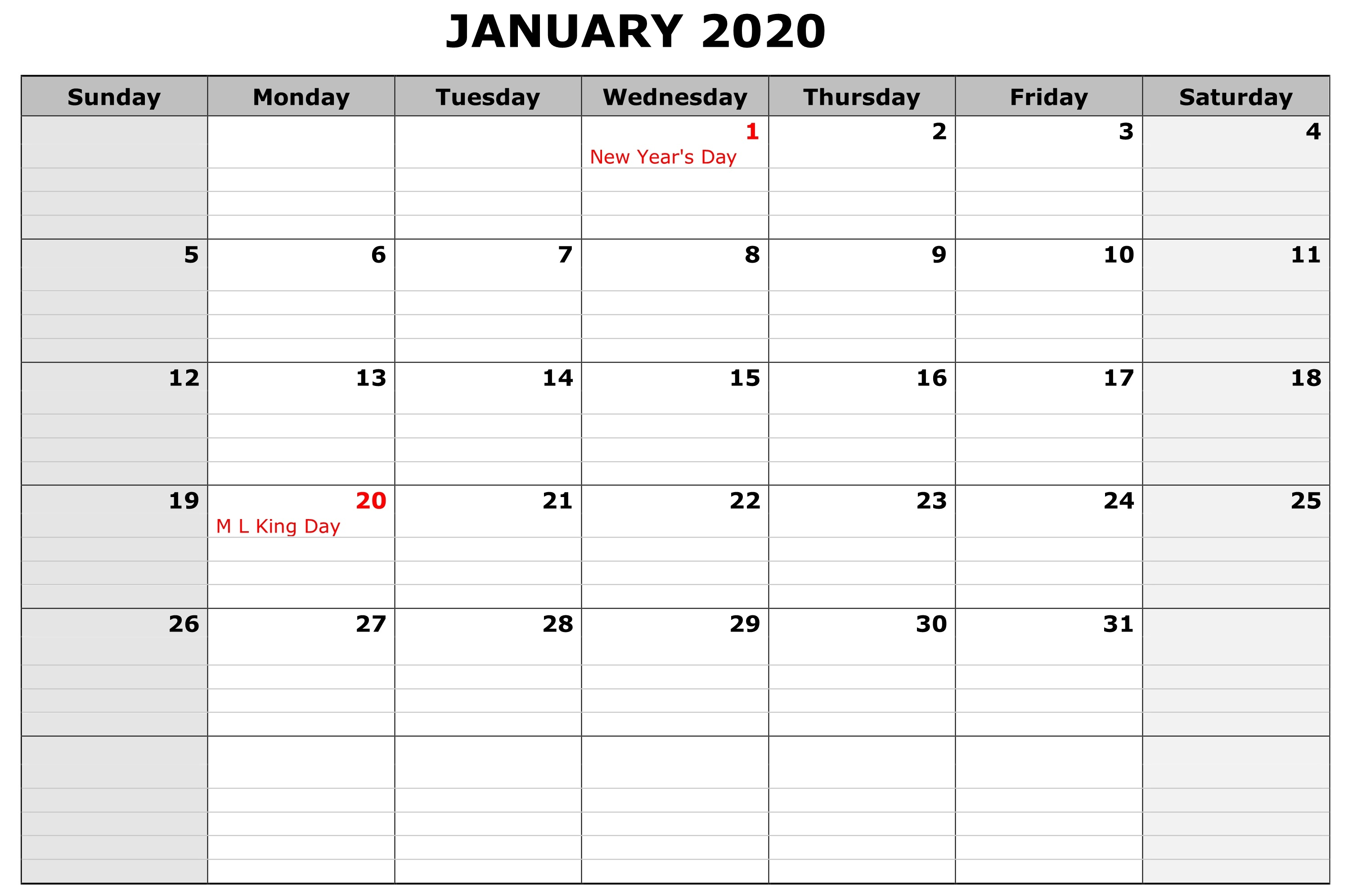 Calendar January 2020 Printable School
