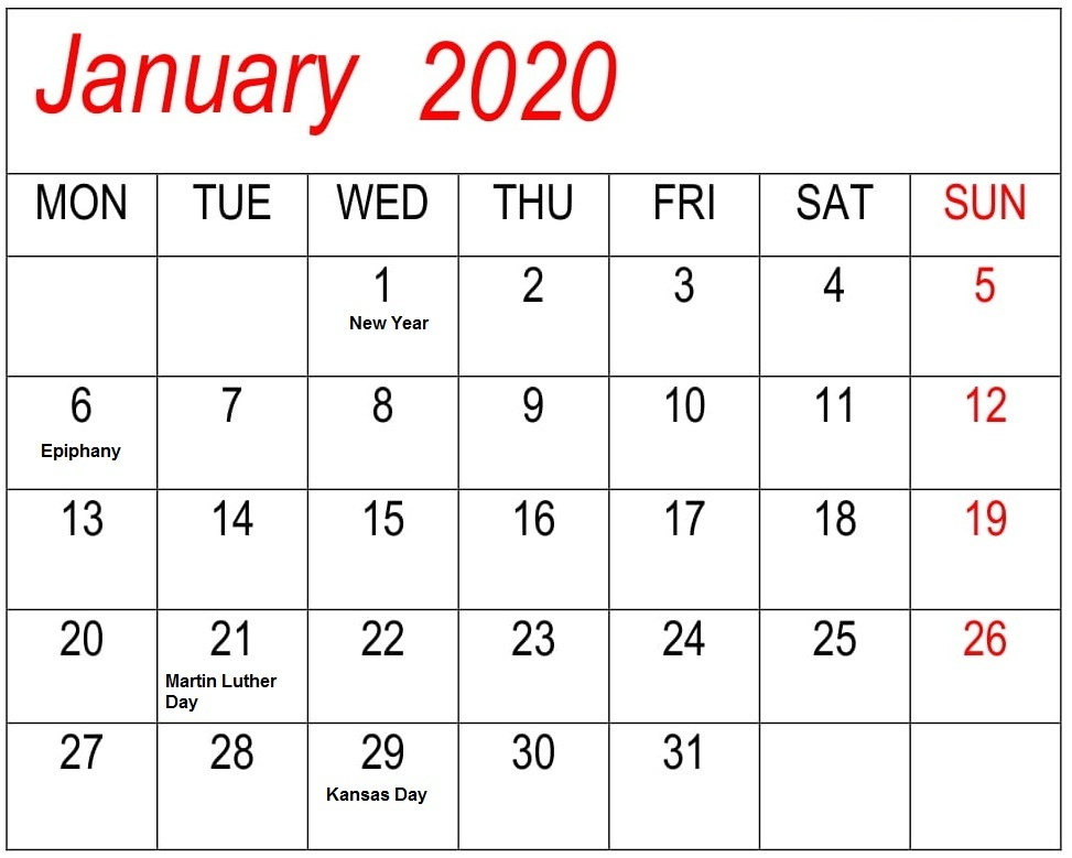 Calendar January Calendar 2020