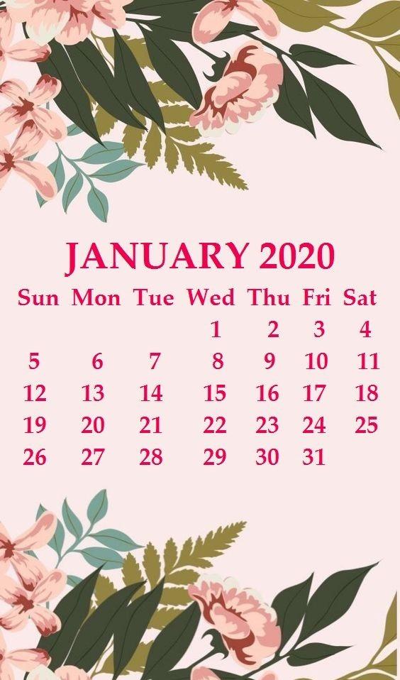 Cute 2020 January Calendar