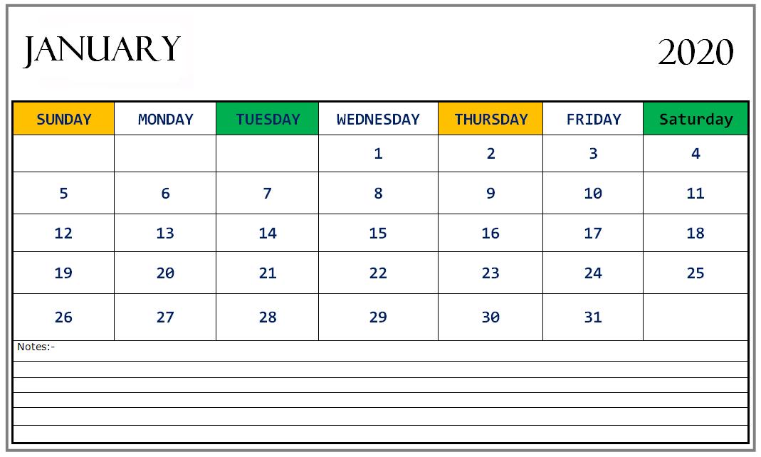 Cute Calendar 2020 January