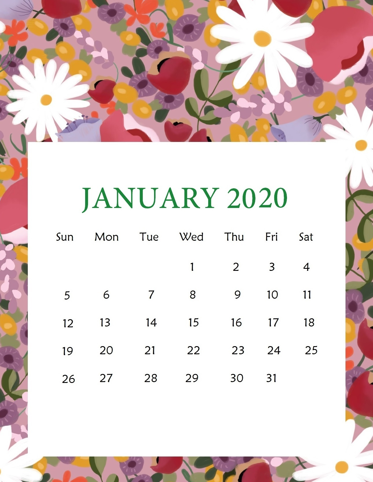 Cute January 2020 Calendar Template