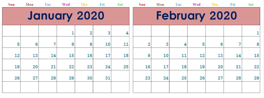 Cute January And February 2020 Calendar