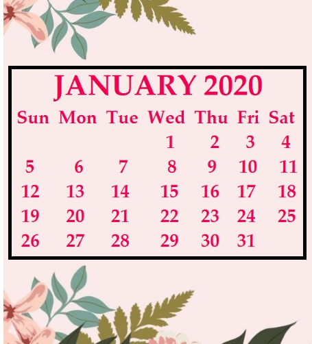 Cute January Calendar 2020