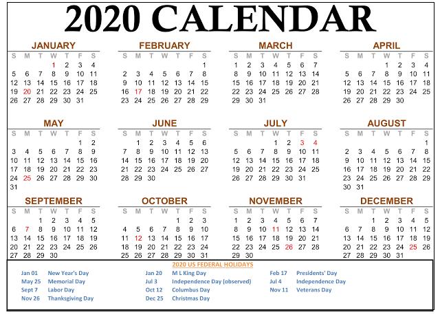 Daily 2020 Printable Calendar