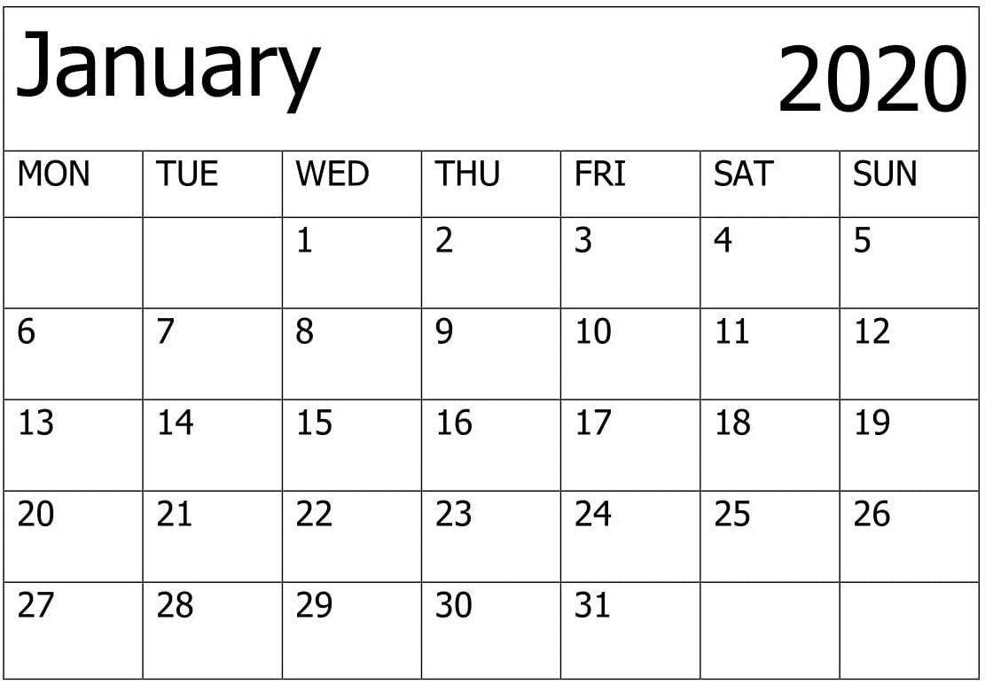Excel 2020 January Calendar
