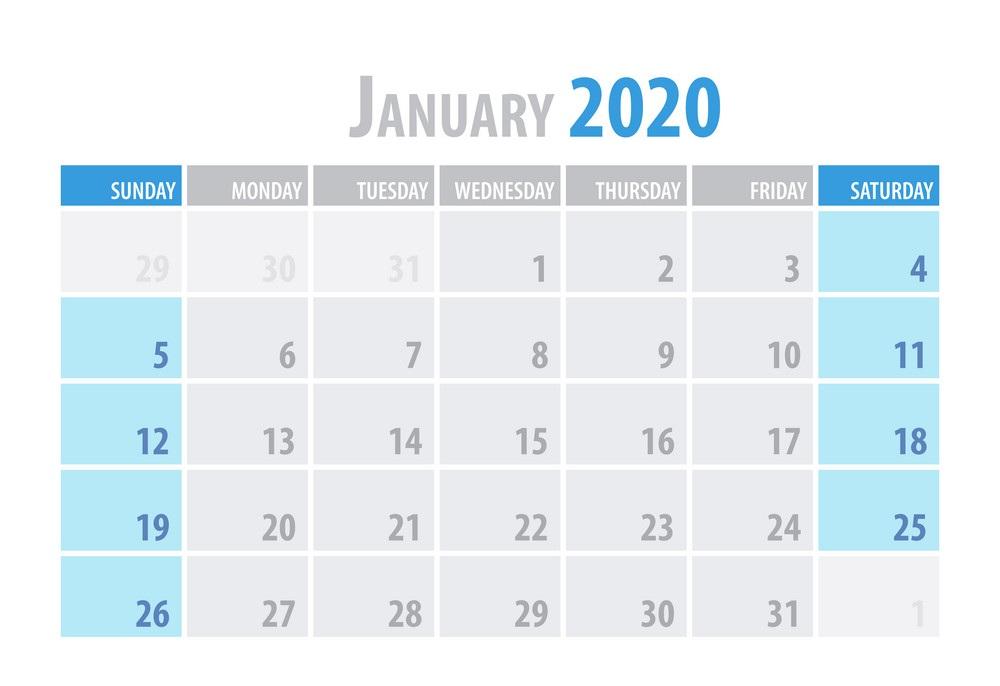 Excel Calendar 2020 January