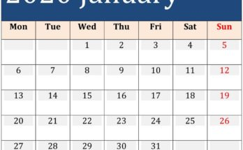 Free 2020 January Calendar