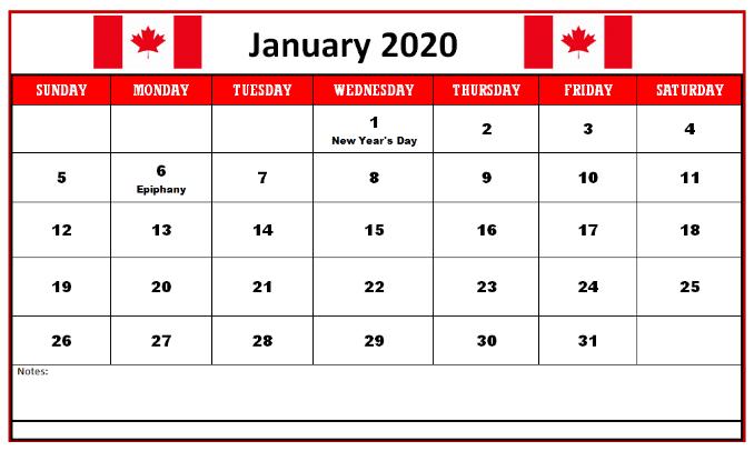 Free Calendar January 2020 Printable