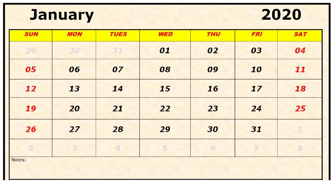 Free Printable January Calendar For 2020