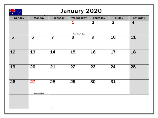 January 2020 Calendar Free