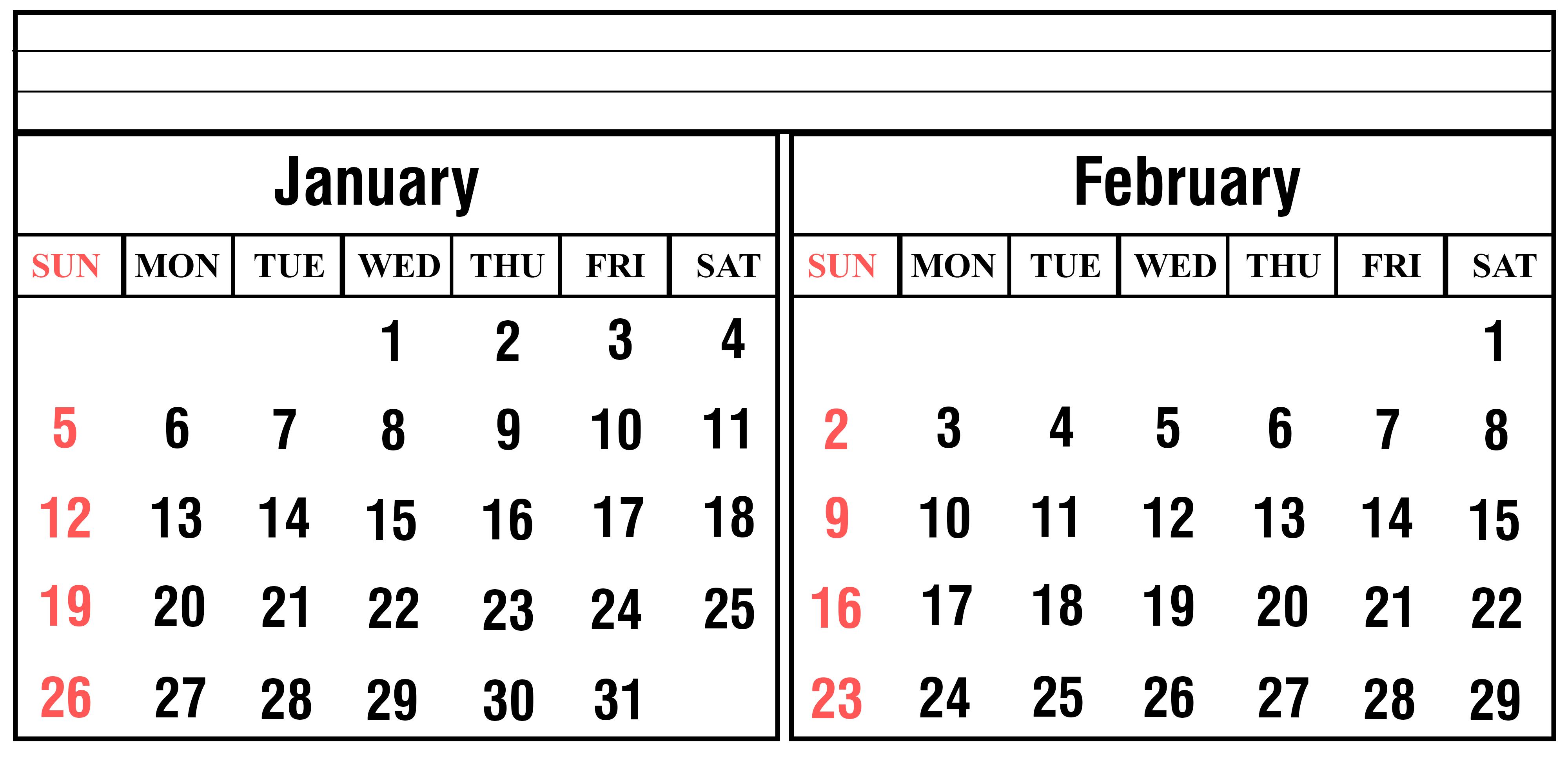 January 2020 Calendar Landscape