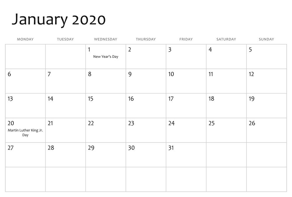 January 2020 Calendar Layout