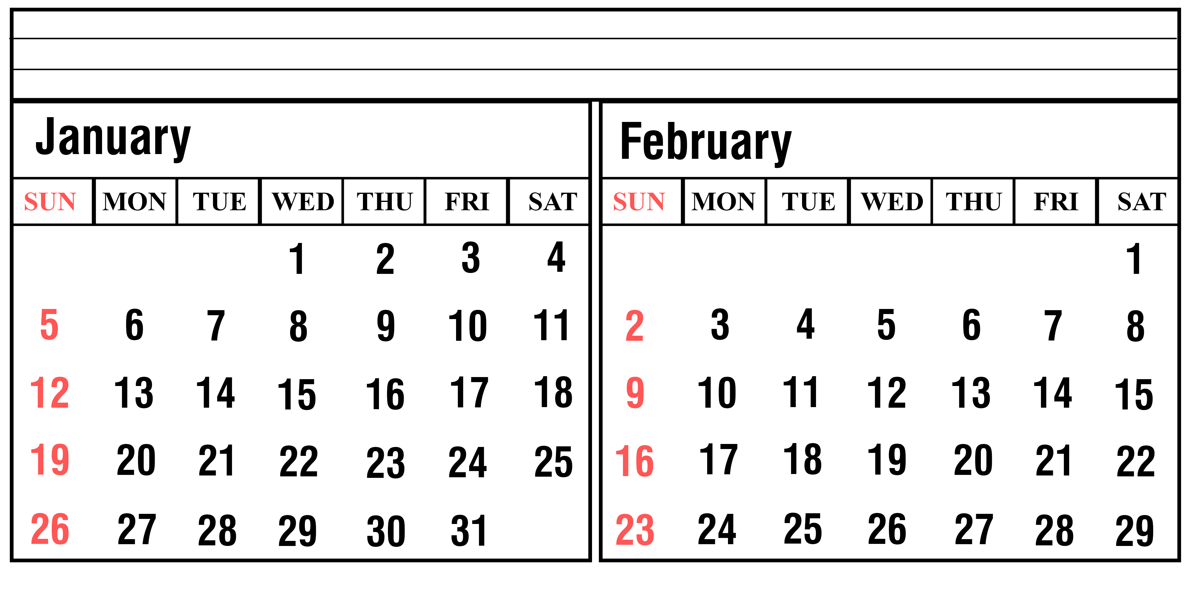 January 2020 Excel Calendar Printable