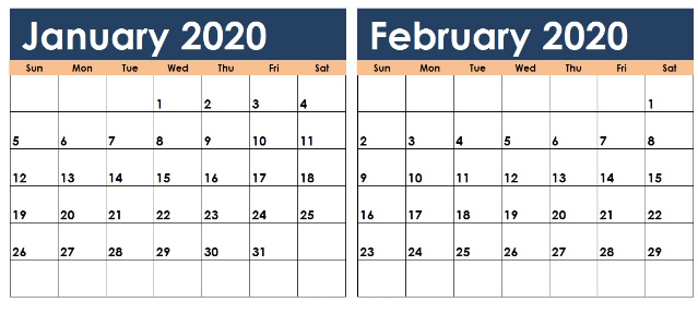 January And February 2020 Calendar For Kids