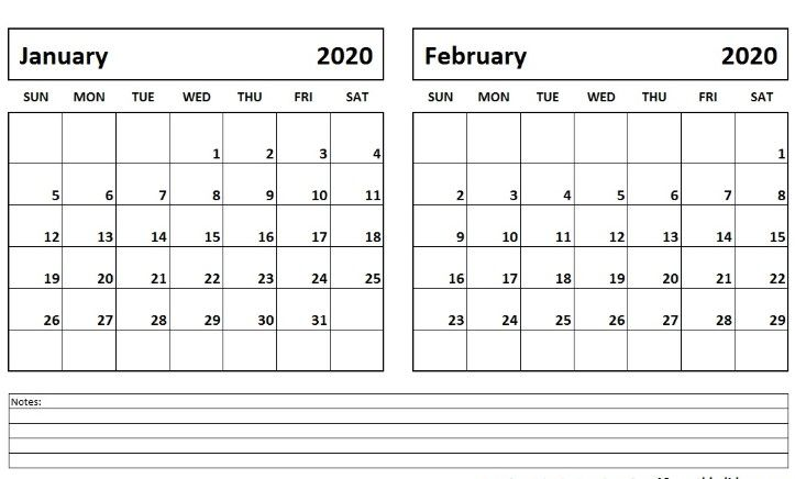 January And February 2020 Calendar List