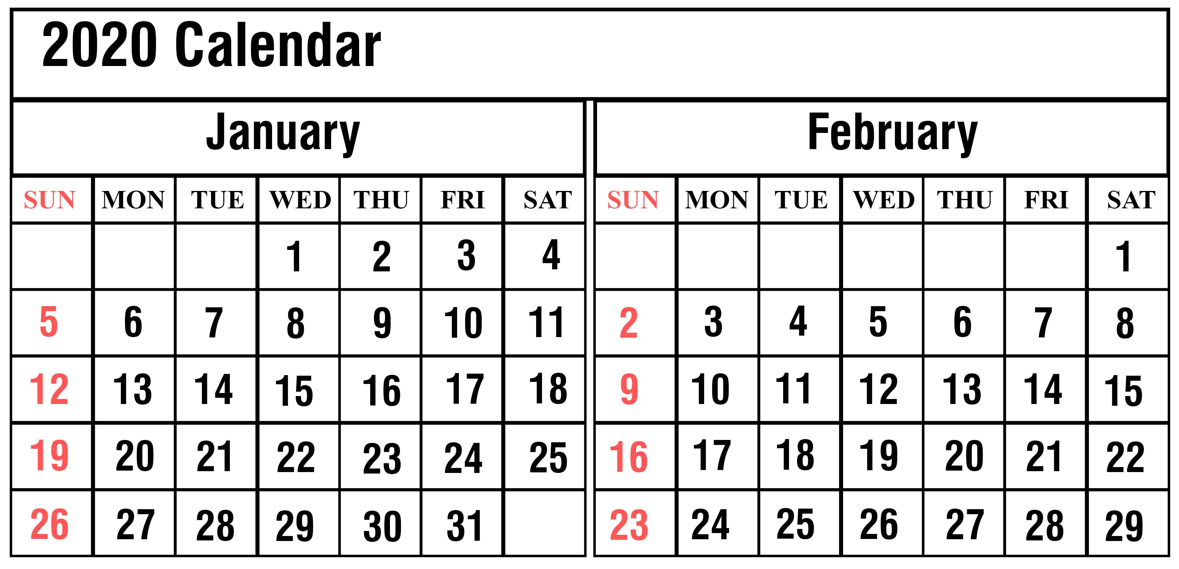 January And February 2020 Calendar PDF