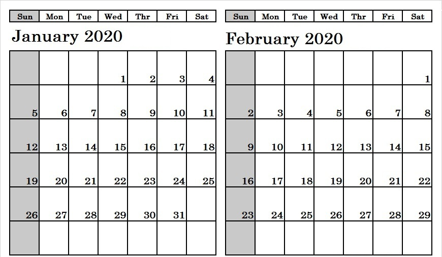 January And February 2020 Calendar