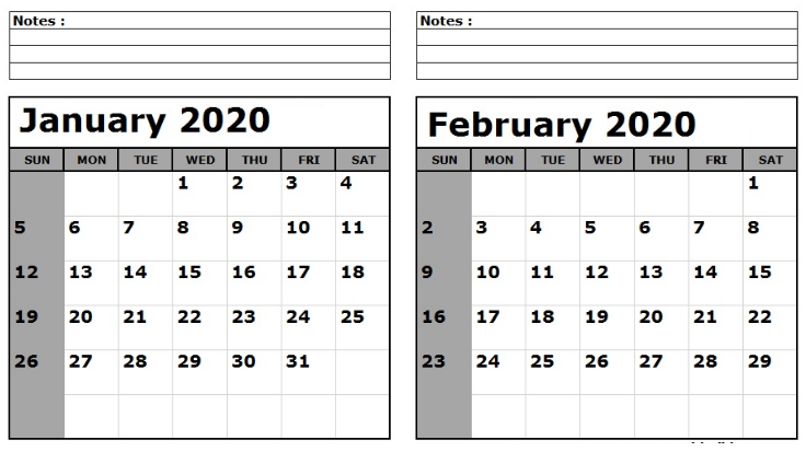 January And February 2020 Calendar Template