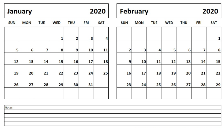 January And February 2020 Editable Calendar