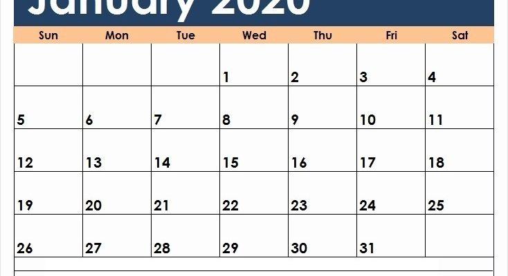 January Calendar 2020 Printable