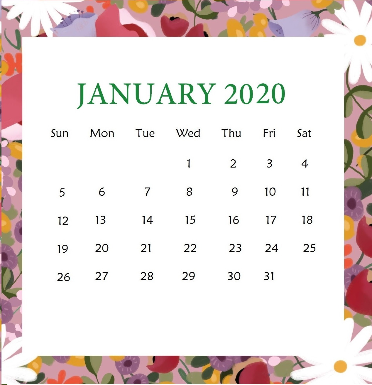 January Calendar For 2020 Printable