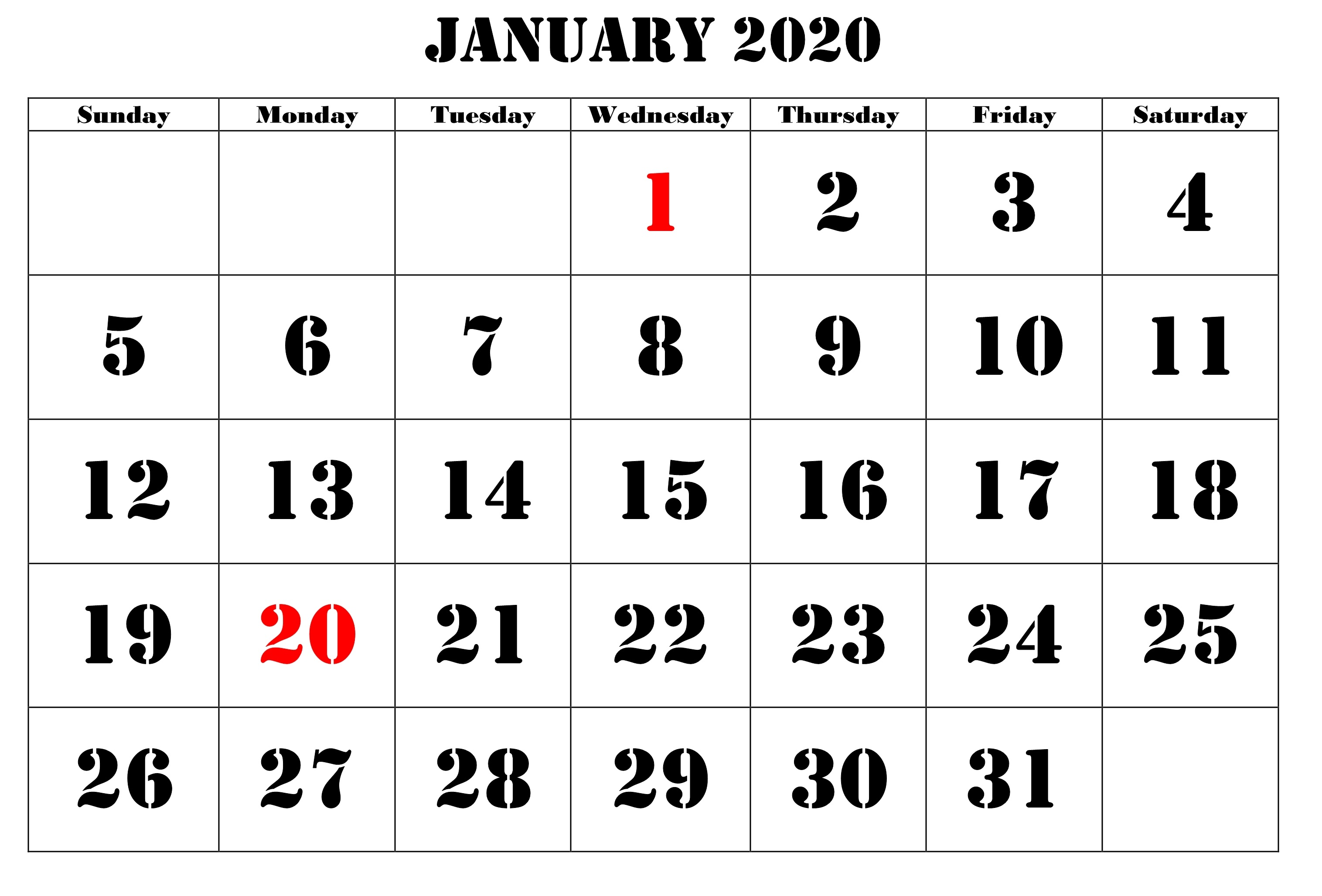 January Printable Calendar For 2020