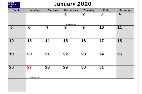 Kids Calendar For January 2020