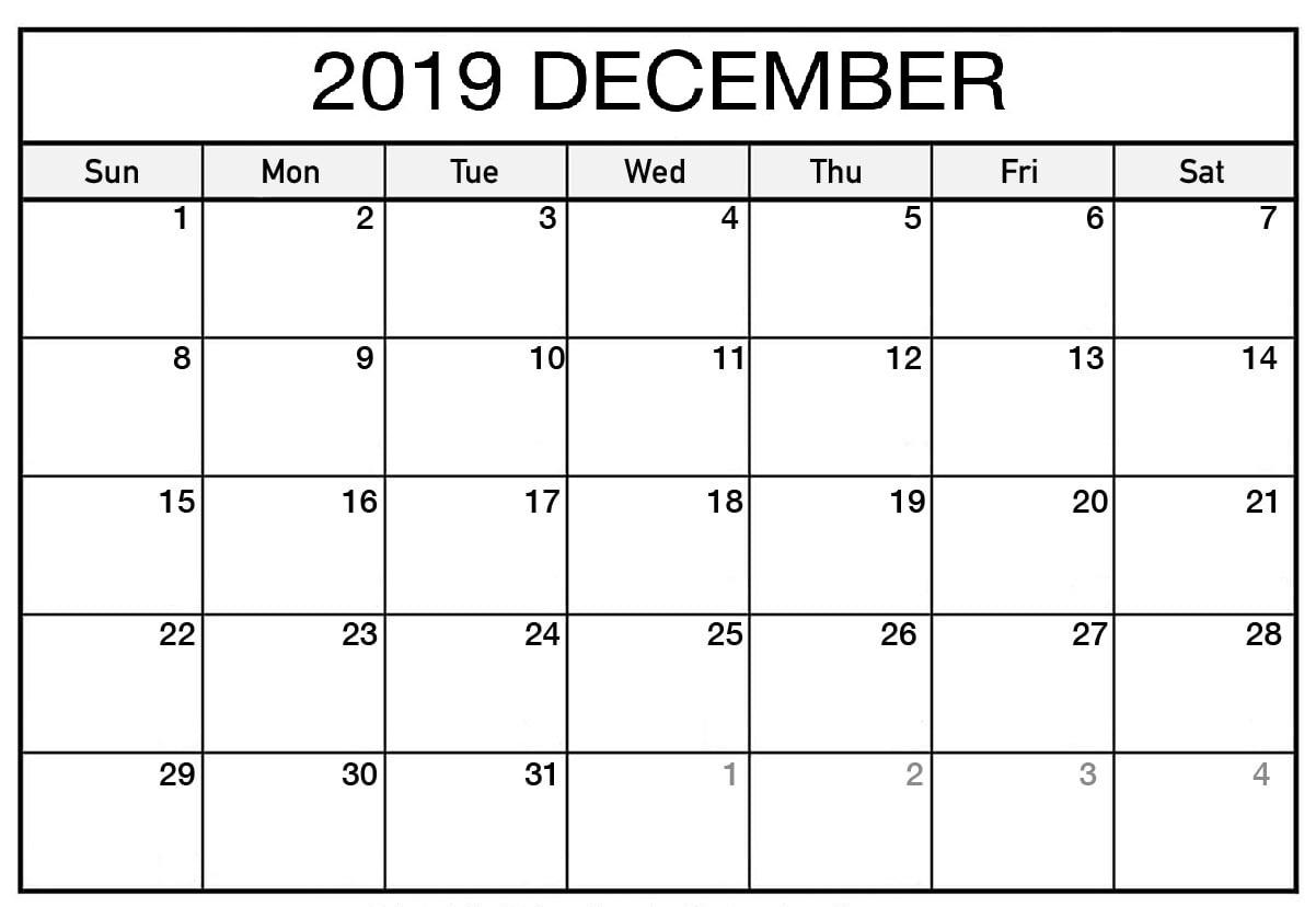 Printable Calendar 2019 December
