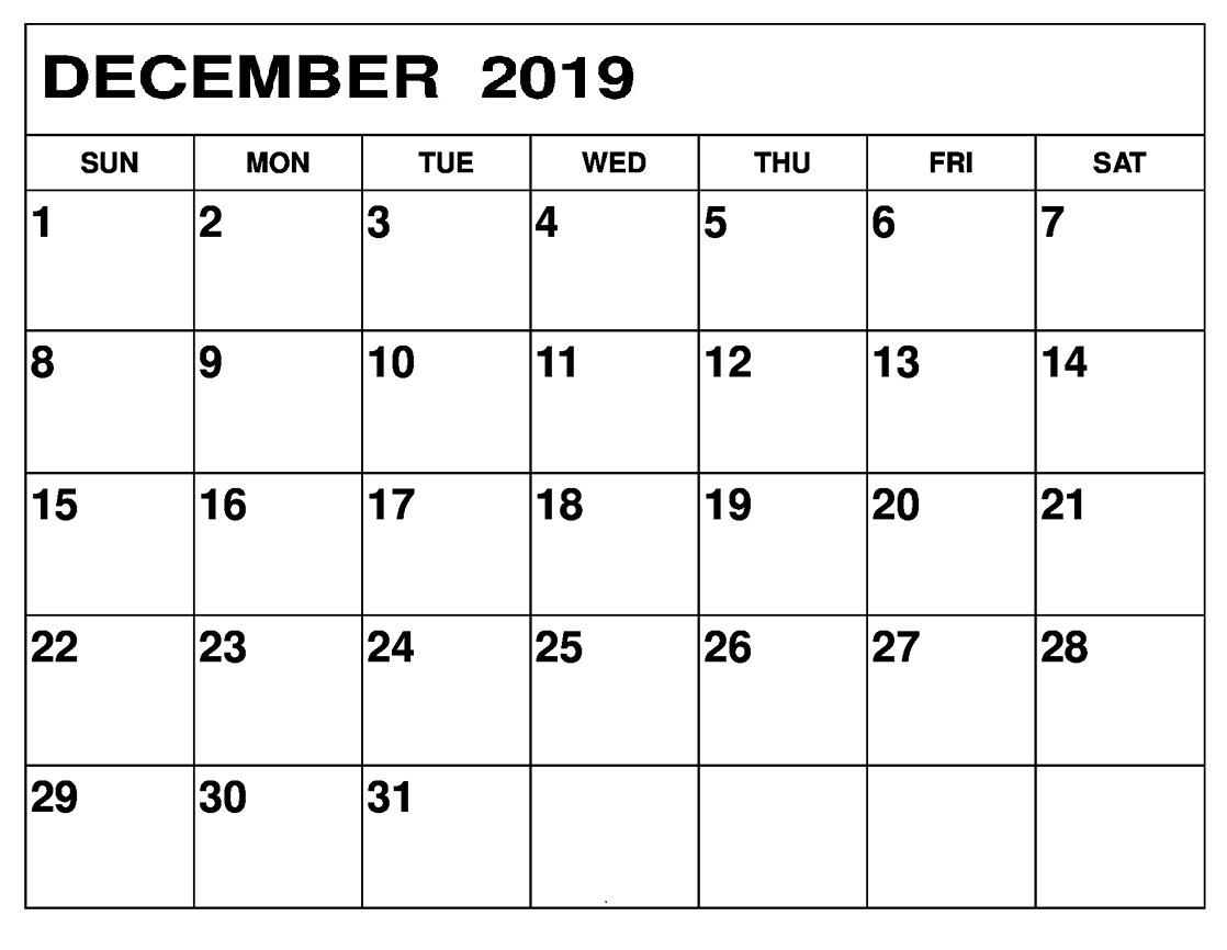 Printable Calendar December 2019 Landscape