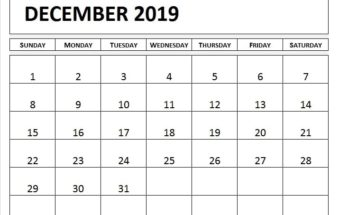 Printable Calendar December 2019 Page