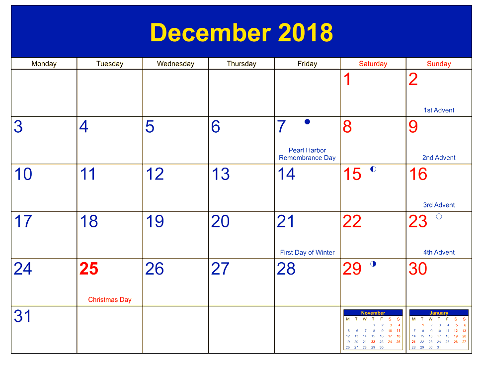 Printable Calendar December 2019 Portrait
