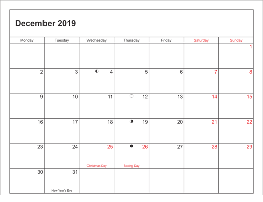 Printable Calendar December 2019 Worksheet