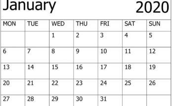 Printable Calendar For 2020 January