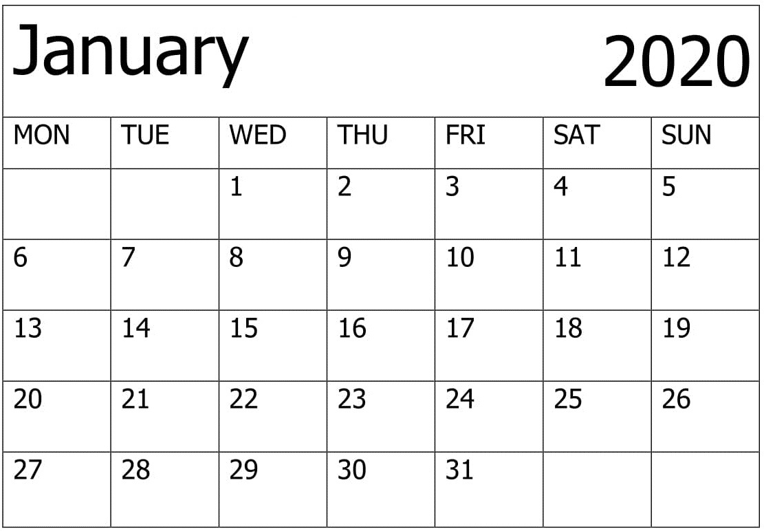 Printable Calendar For 2020 January