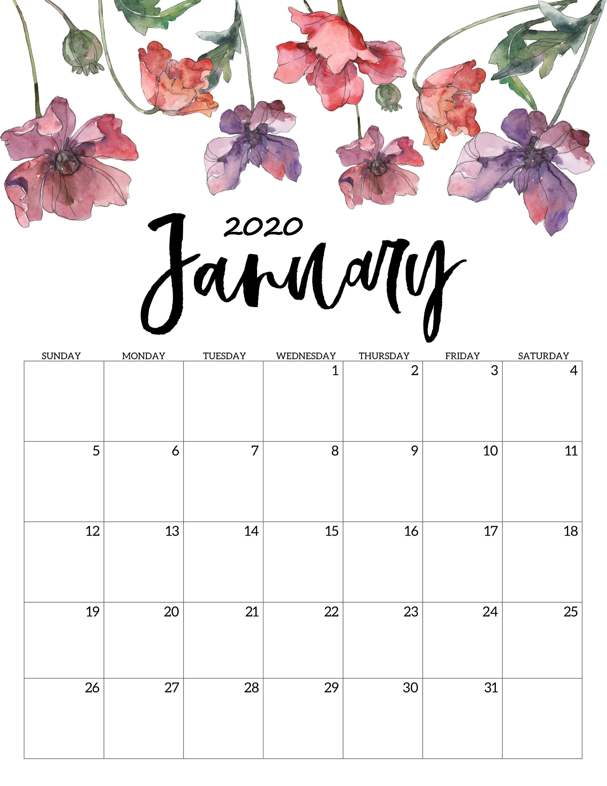 Printable Calendar For January 2020