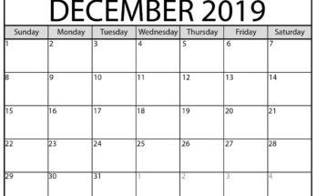 Printable December 2019 Calendar PDF